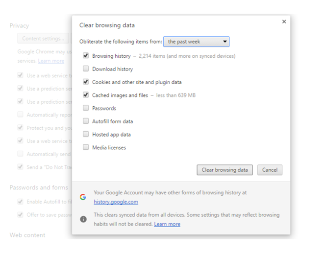 Chrome cache clearing